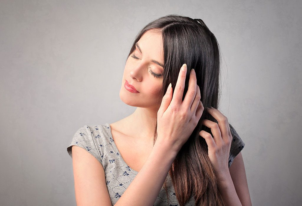 Massaging hair with fingers
